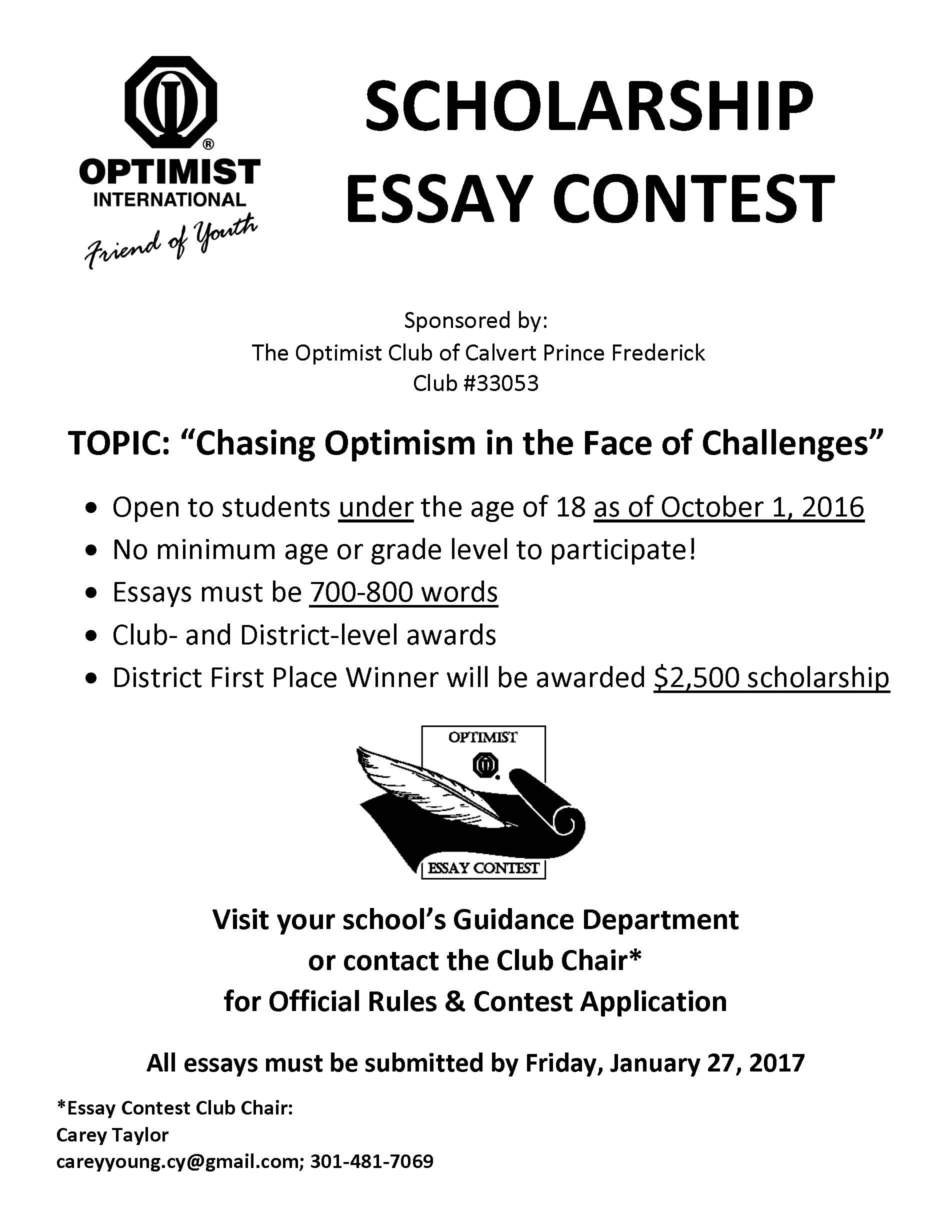 essay contests scholarships 2011 The optimist international essay contest is open to youth under the age of 19 as  of december 31, 2010 applicants  scholarship spotlight  june 08, 2011.